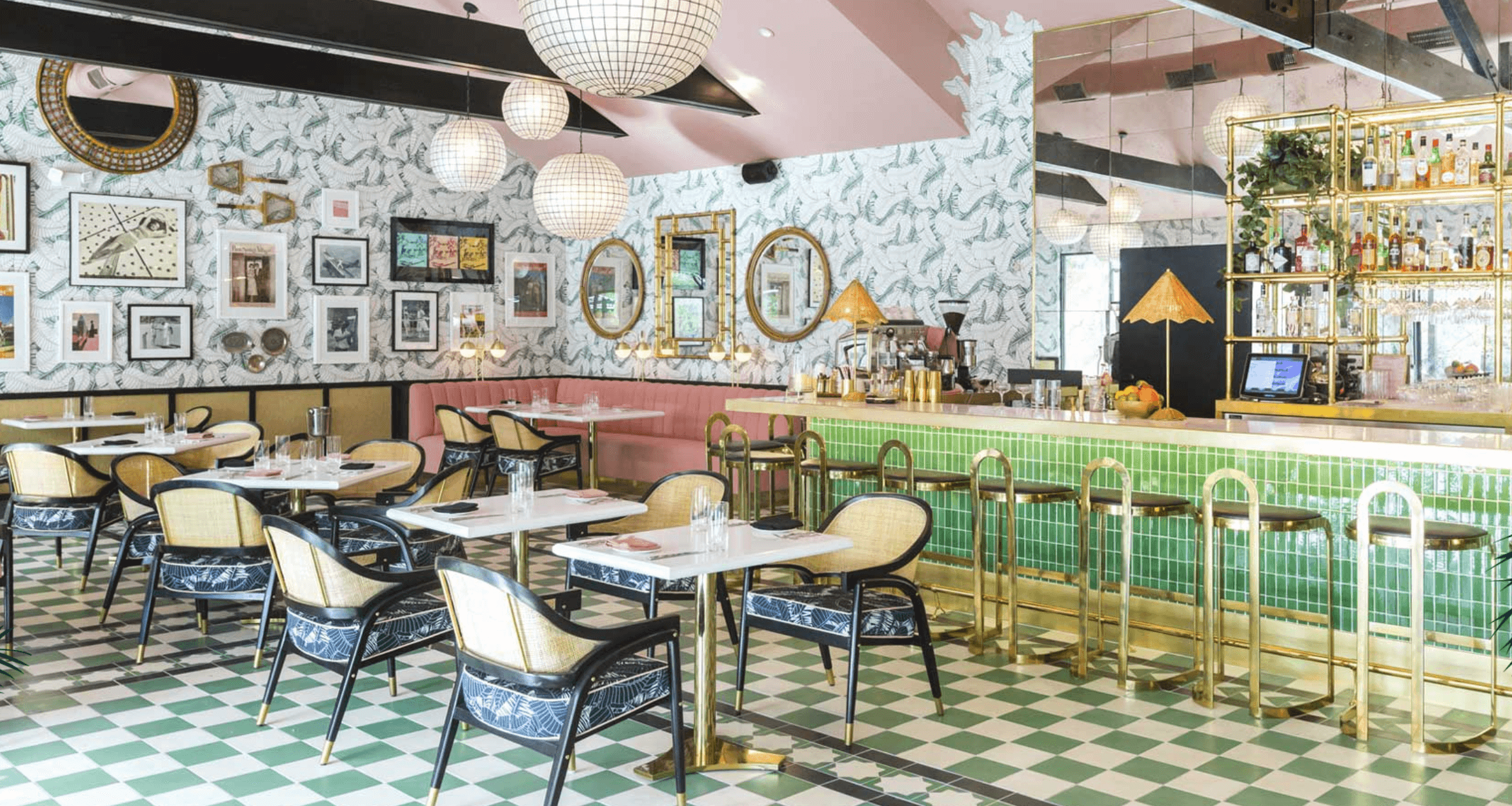 Green and White Checkerboard Flooring