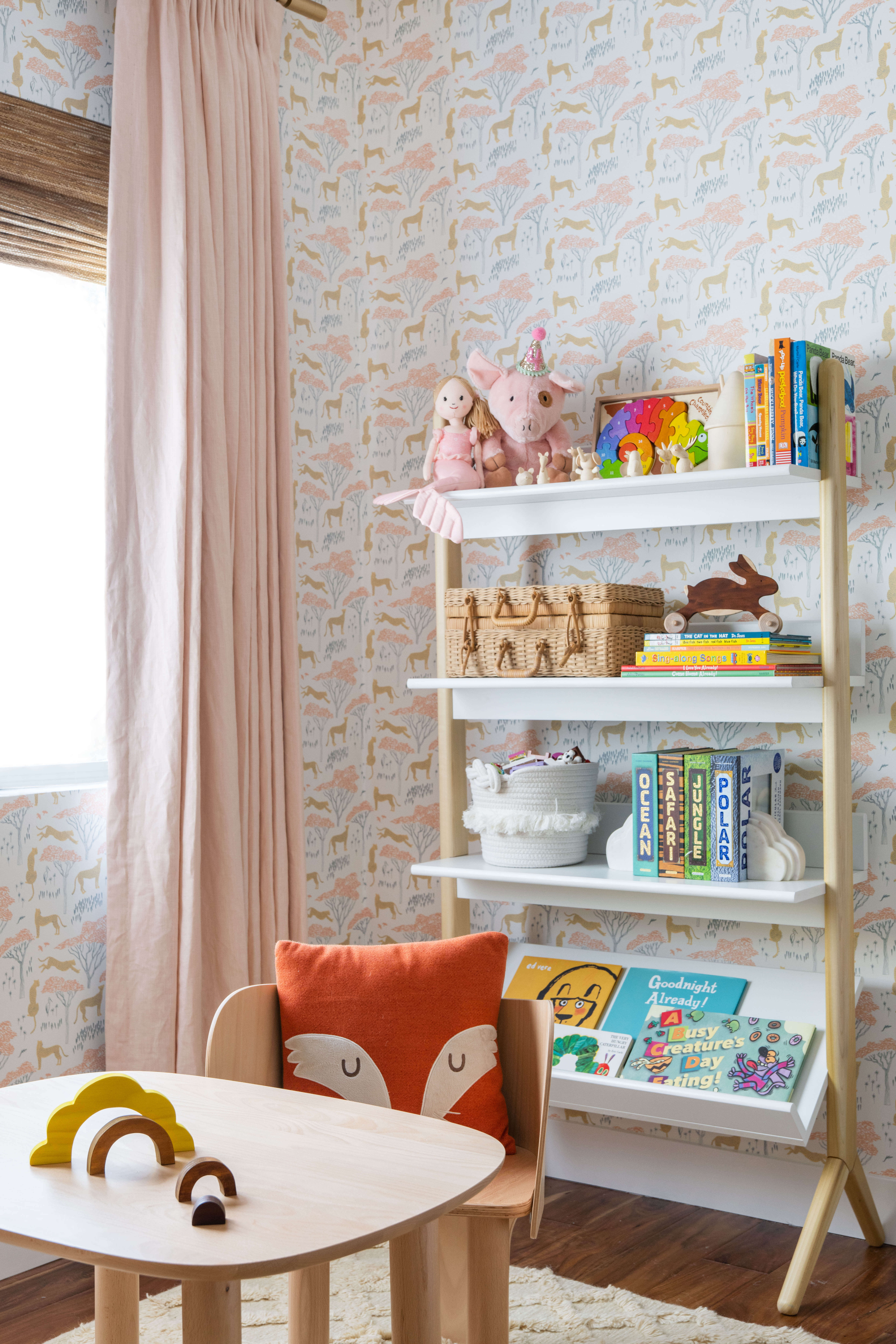 Ginny Macdonald Design girl's bedroom activity table and bookcase