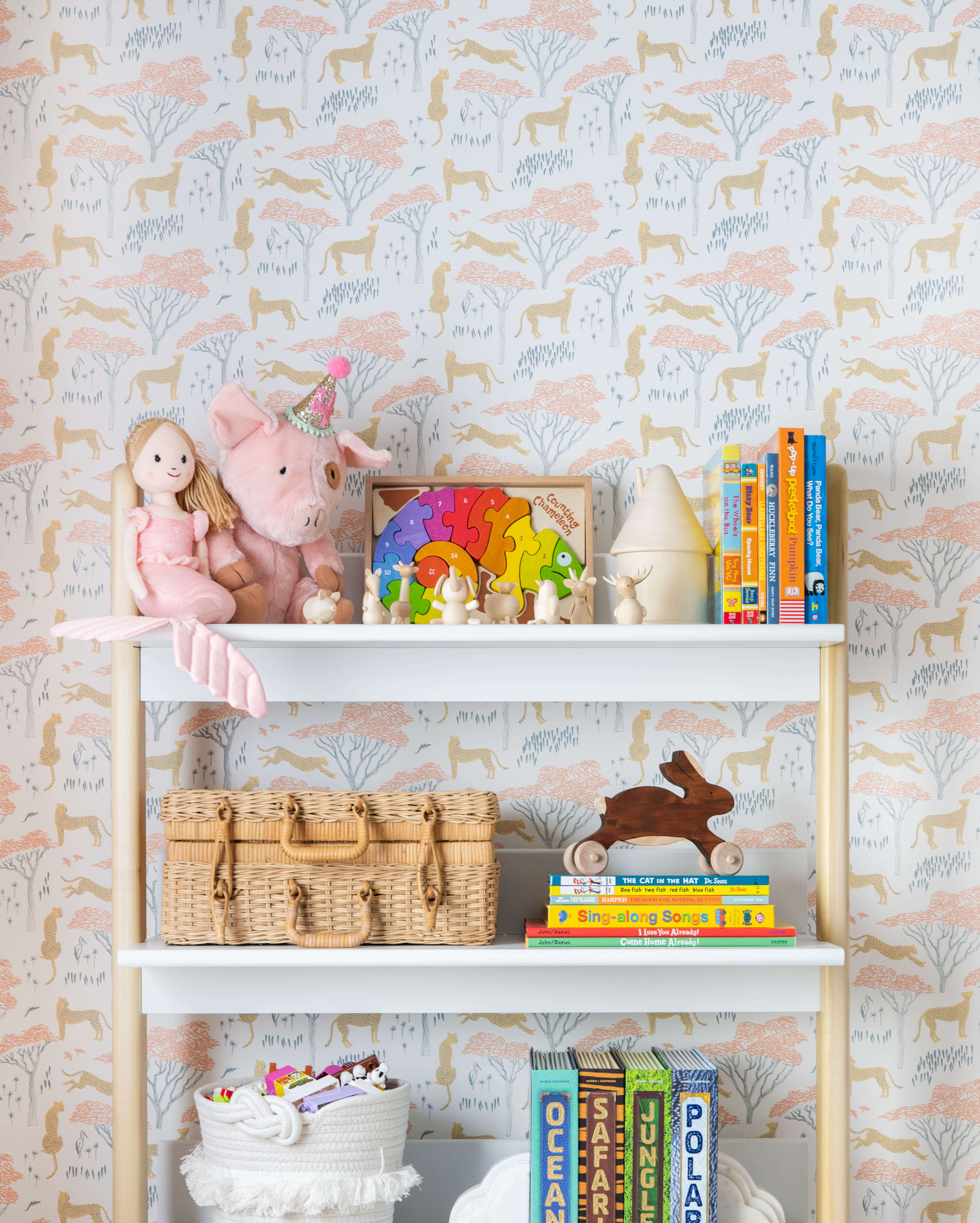 Ginny Macdonald Design girl's bedroom bookcase styling vignette
