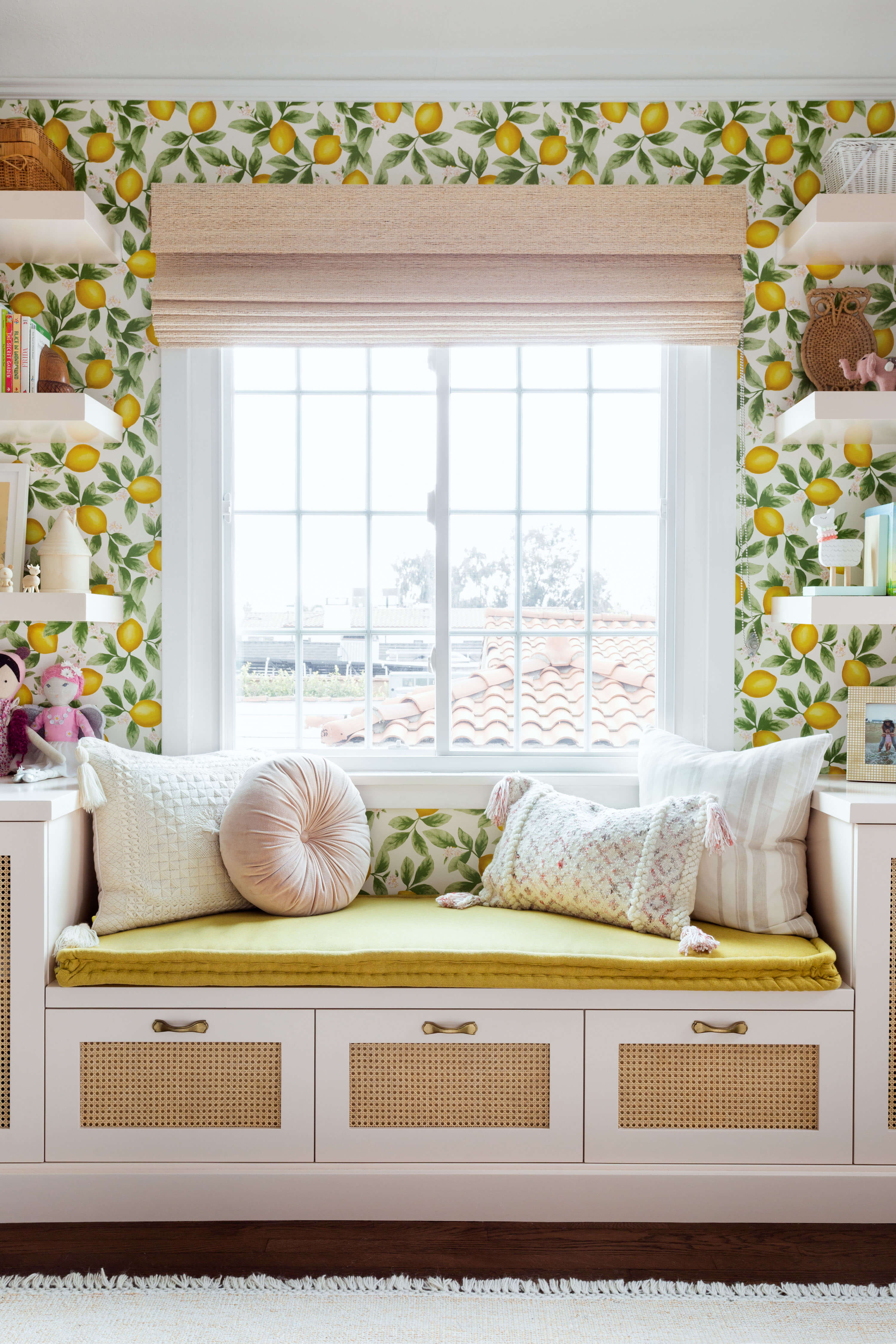 Ginny Macdonald and Lulu & Georgia girl's bedroom with built in bench and mustard seat cushion