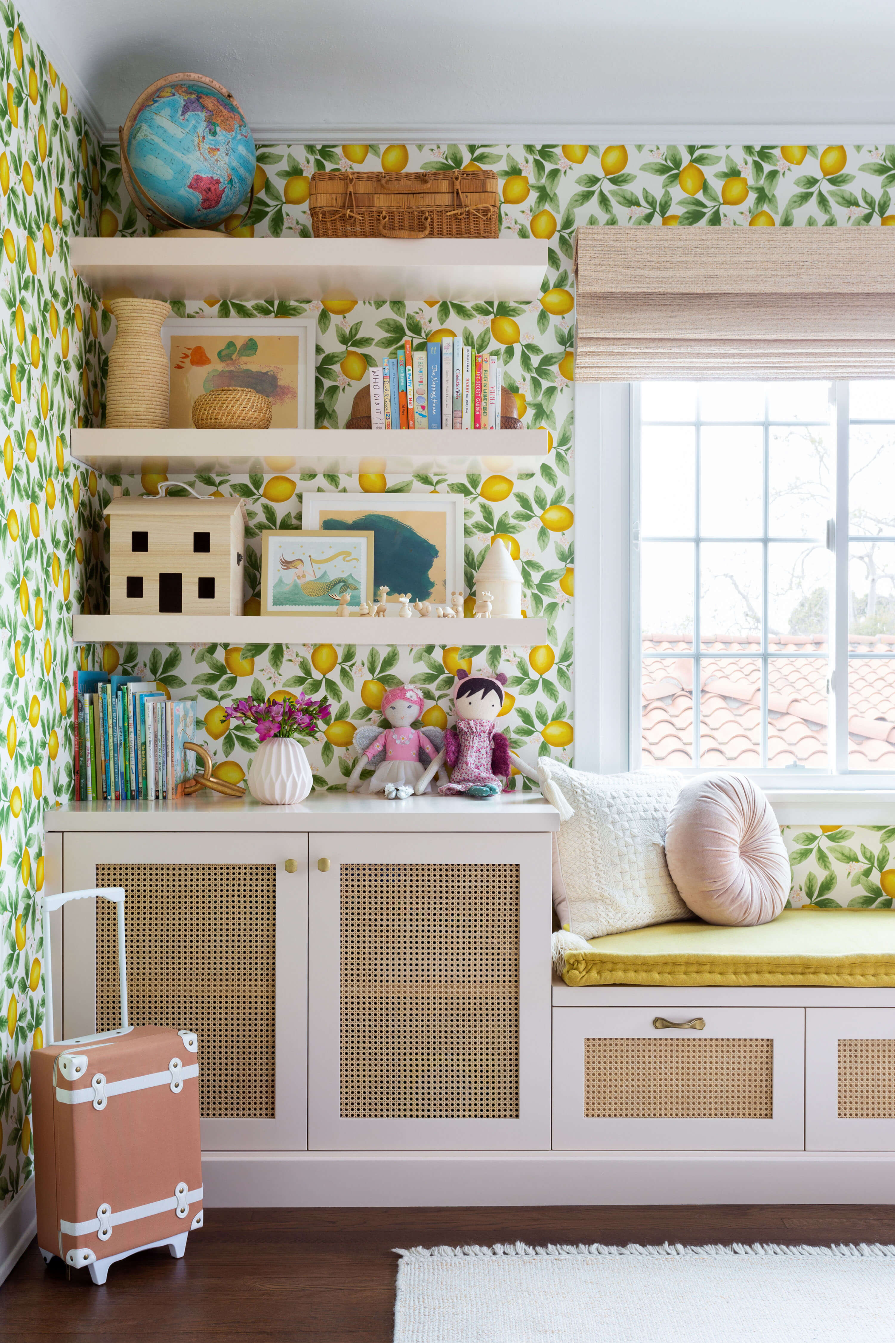 Ginny Macdonald and Lulu & Georgia girl's bedroom with pink and cane built in cabinet