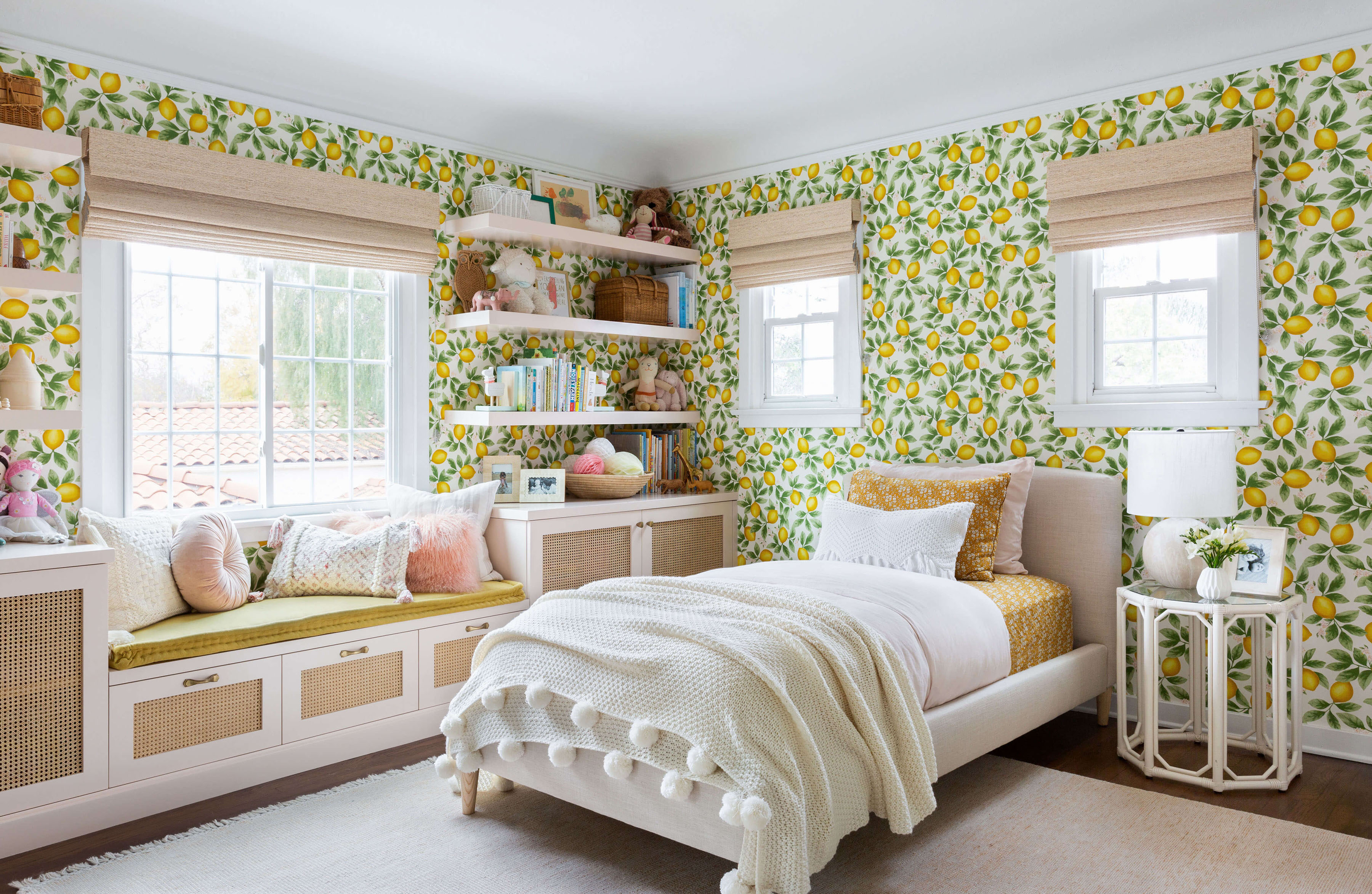 Ginny Macdonald and Lulu & Georgia girl's bedroom with lemon wallpaper