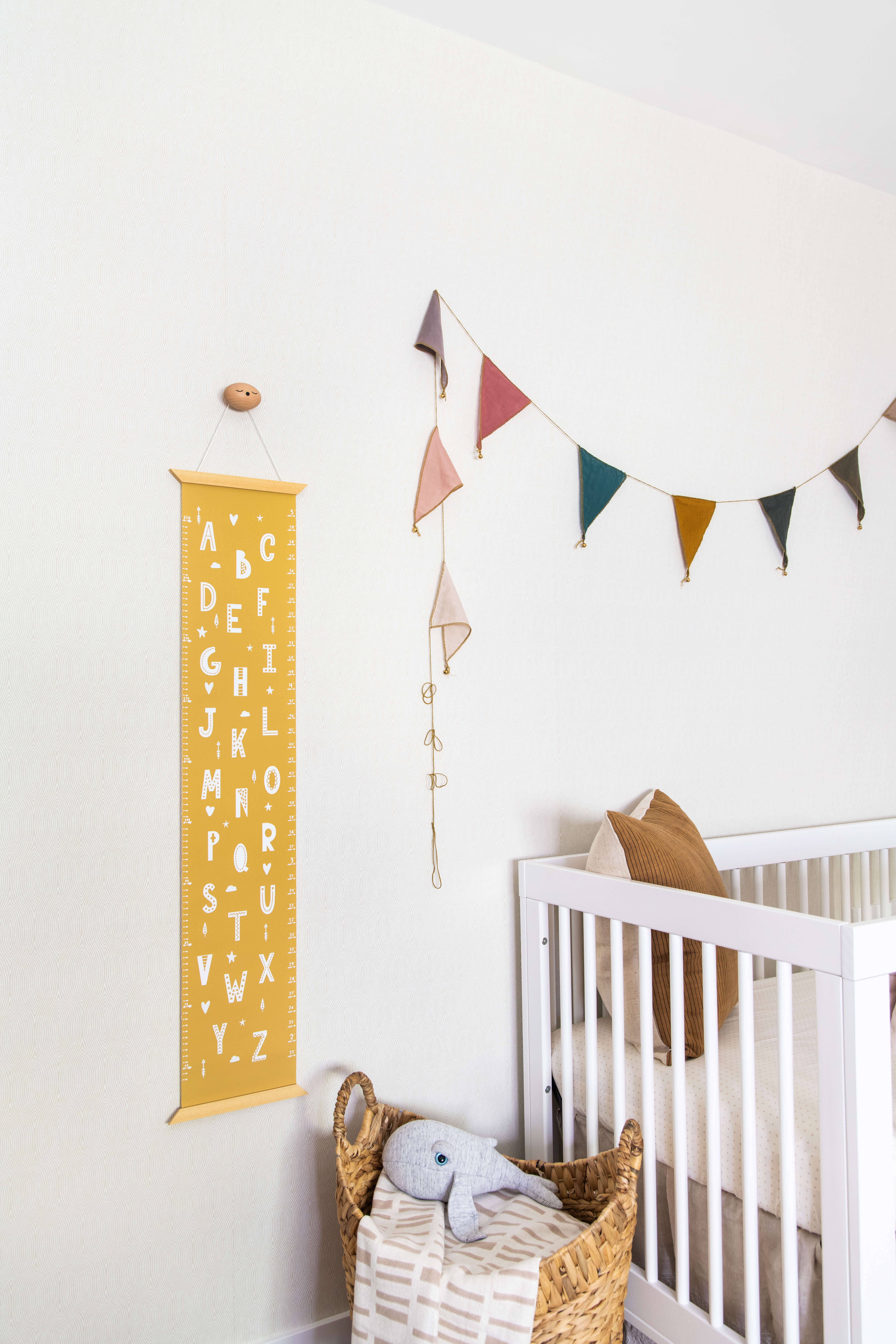 Ginny Macdonald Design nursery with yellow height chart