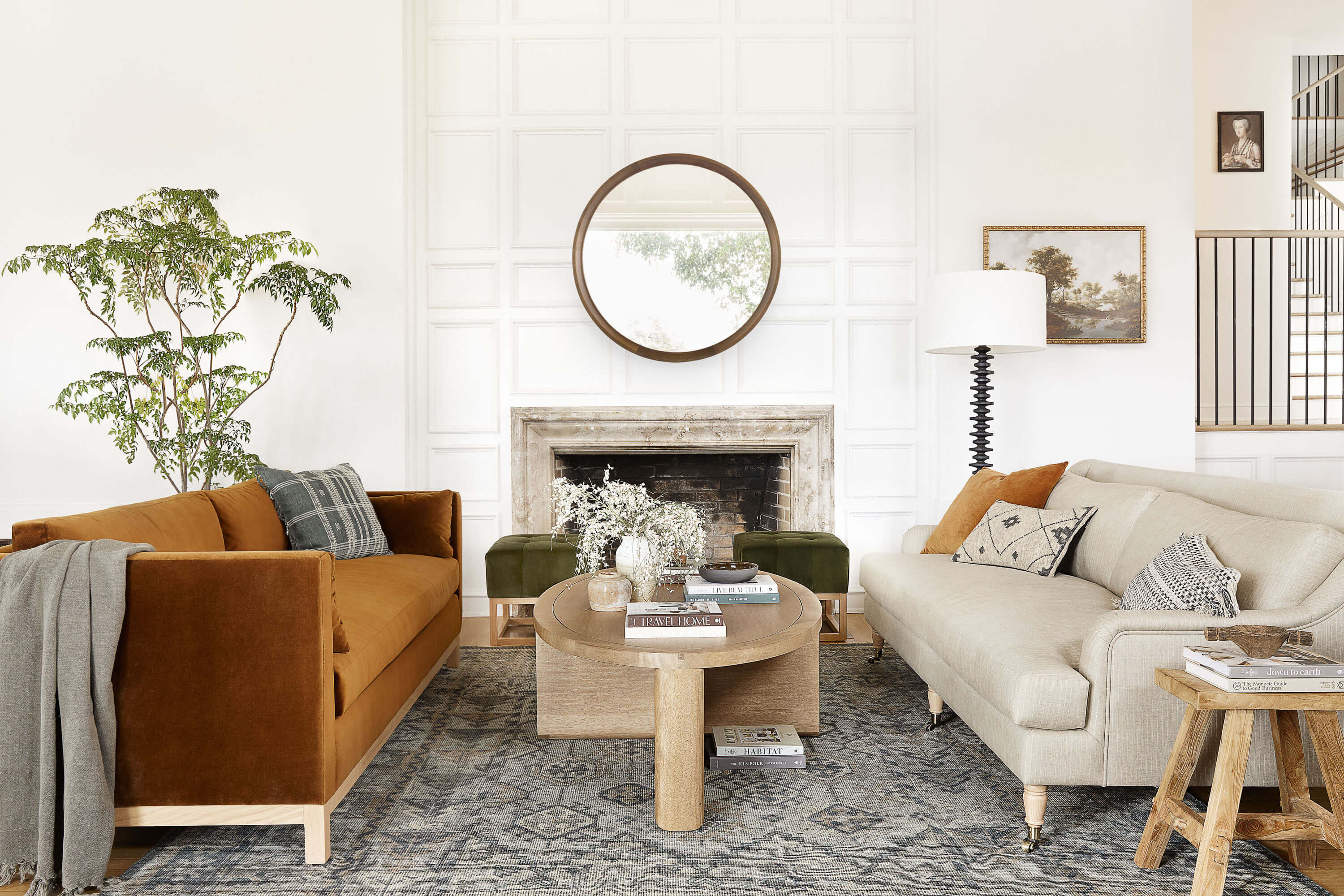 Double sofa living room with rust colour sofa. Design by Ginny Macdonald Design