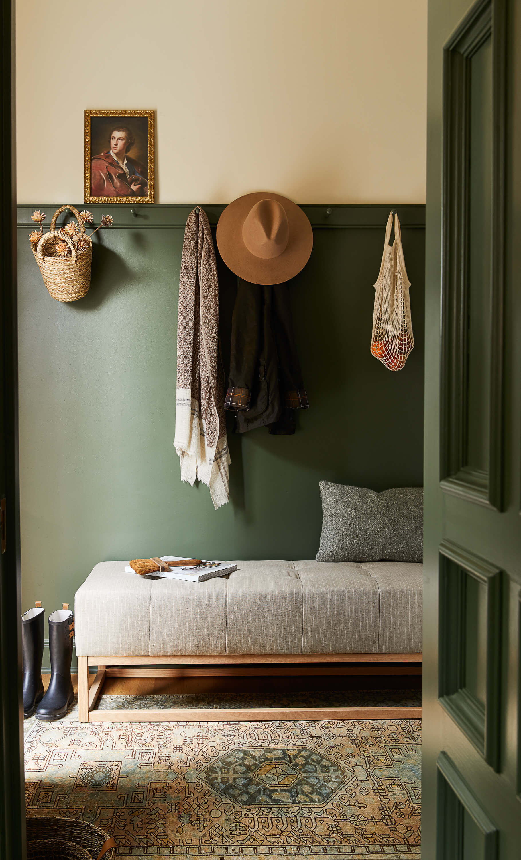 Dark green mud room. Design by Ginny Macdonald Design