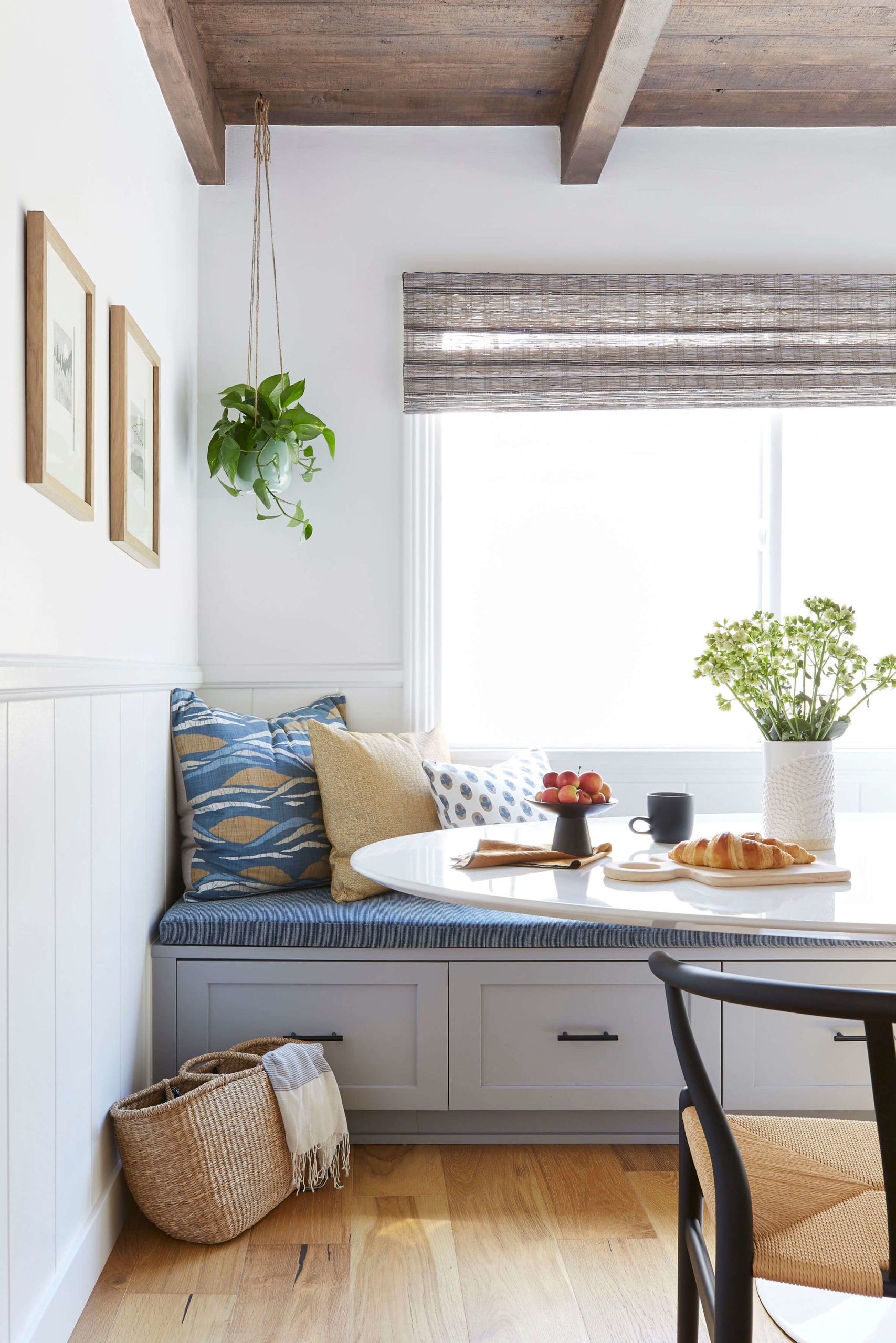 Blue, grey and mustard dining nook interior design by Ginny Macdonald Design