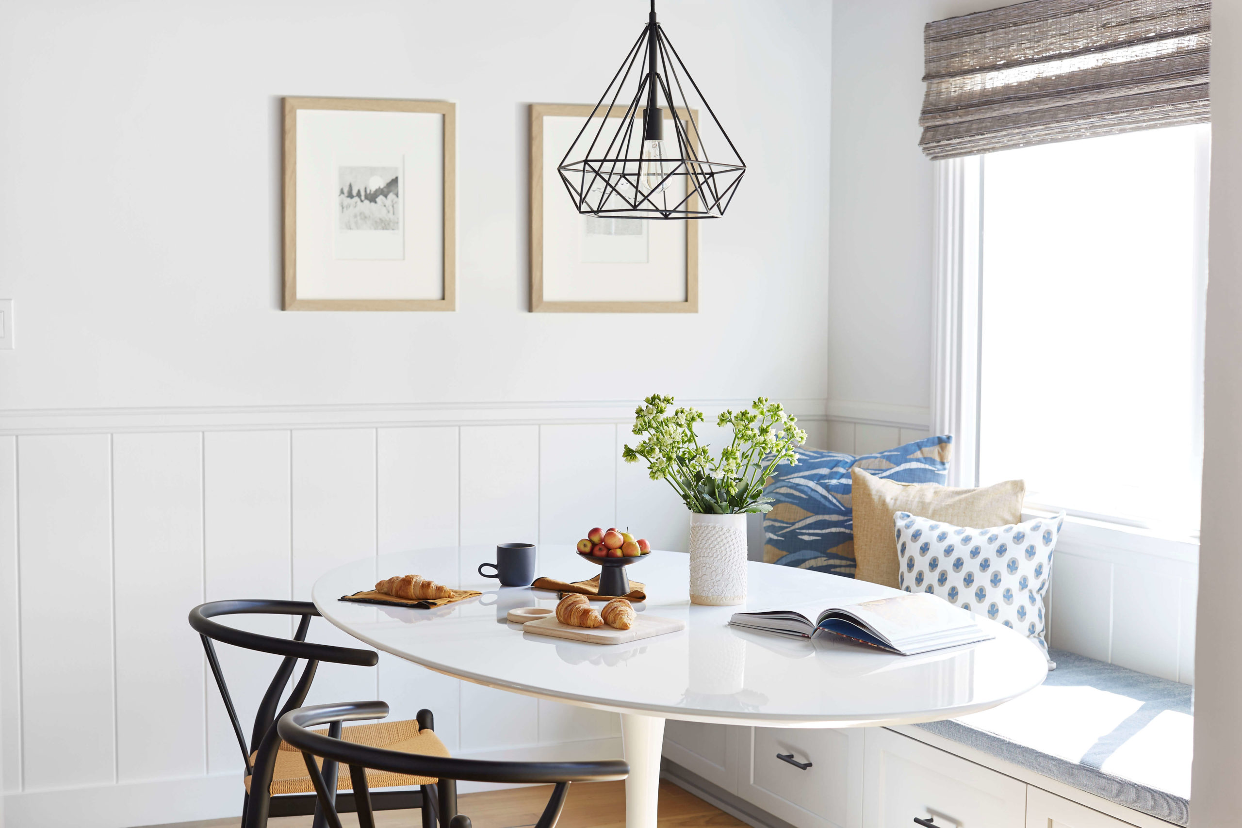 Bright and airy dining nook interior design by Ginny Macdonald Design