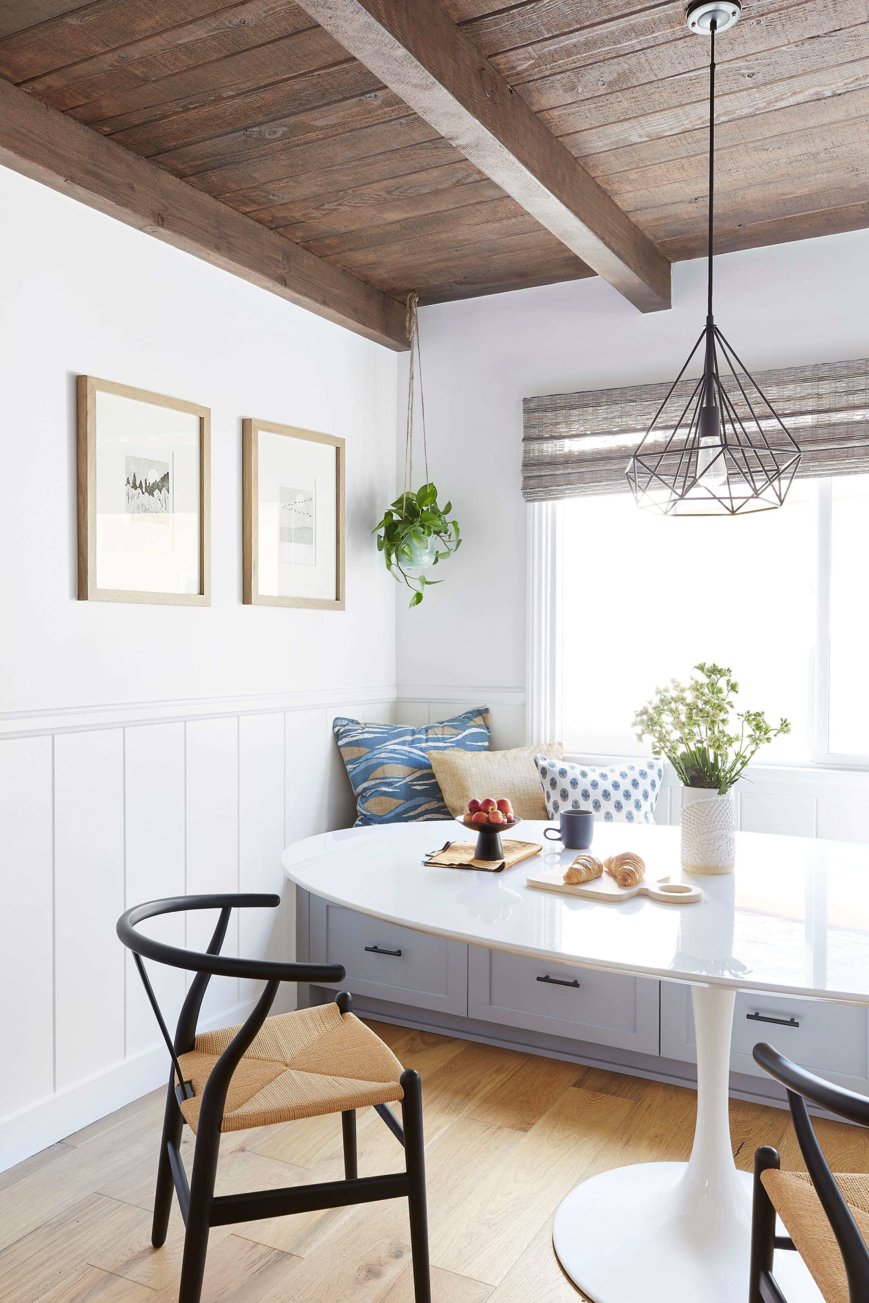 Cozy corner dining nook interior design by Ginny Macdonald Design