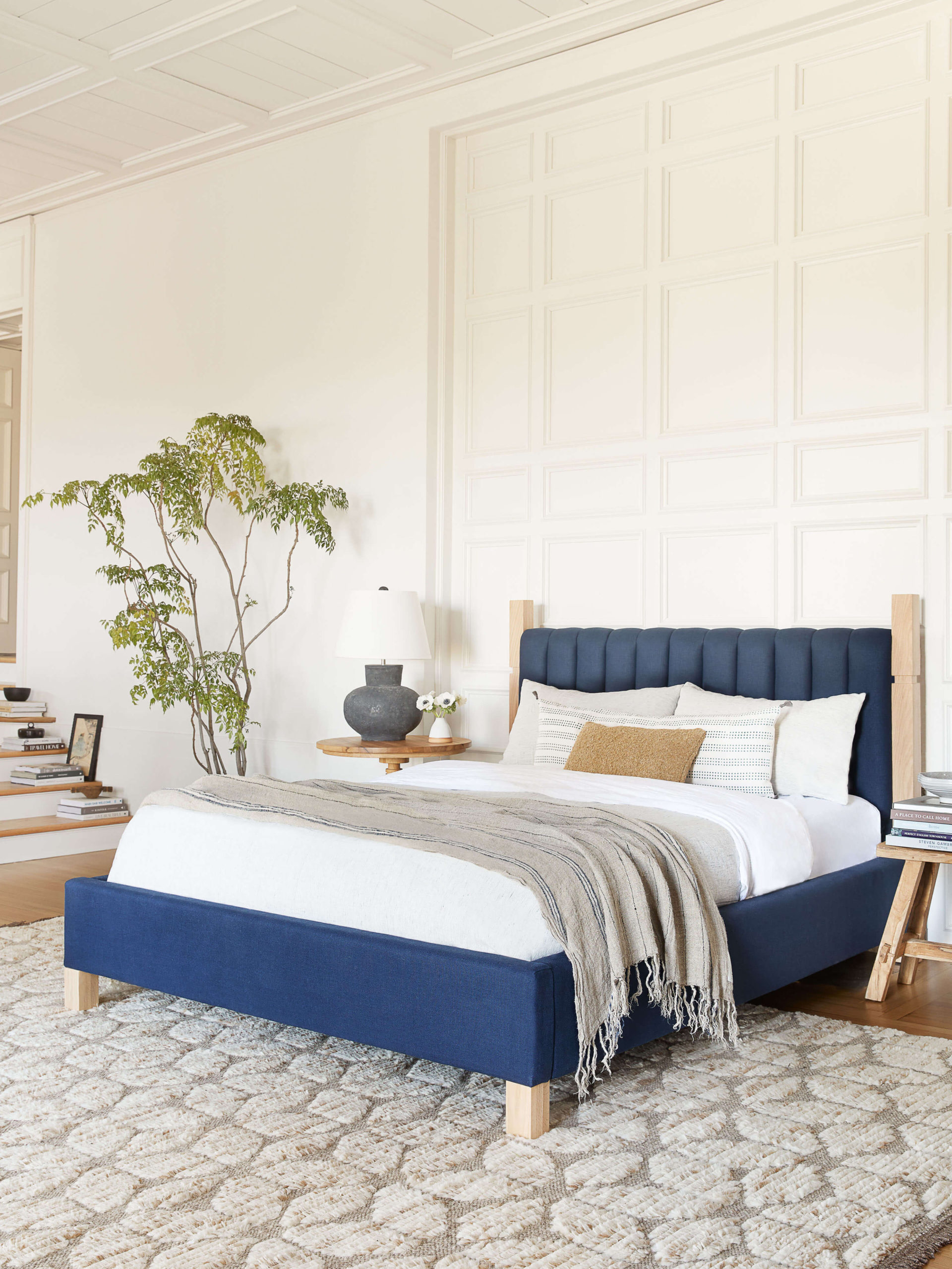 Blue linen channel tufted bed GMDxLG Interior Design By Los Angeles based Ginny Macdonald Design