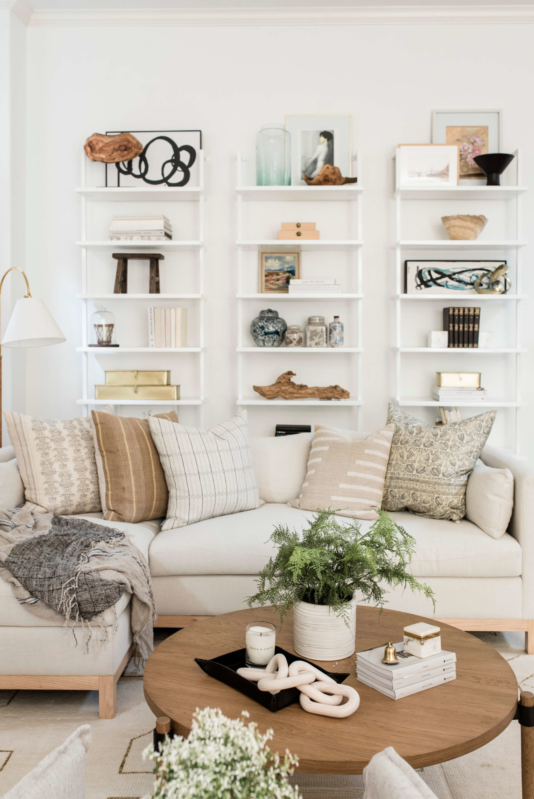 Bookcase Styling in Living Room GMDxLG Furniture Collection Hollingworth Sofa by Los Angeles Designer Ginny Macdonald Design