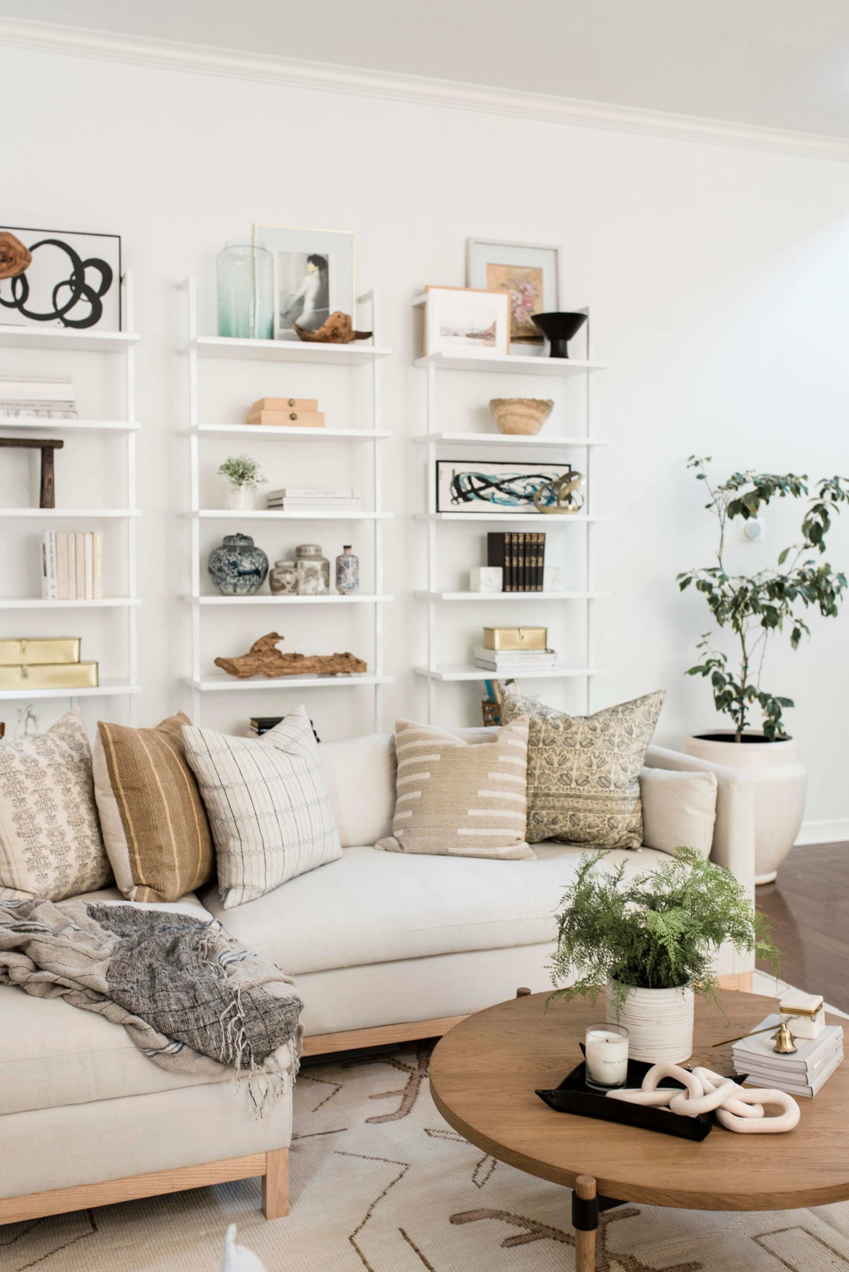 Cosy and Bright White Living Room GMDxLG Furniture Collection Hollingworth Sofa by Los Angeles Designer Ginny Macdonald Design