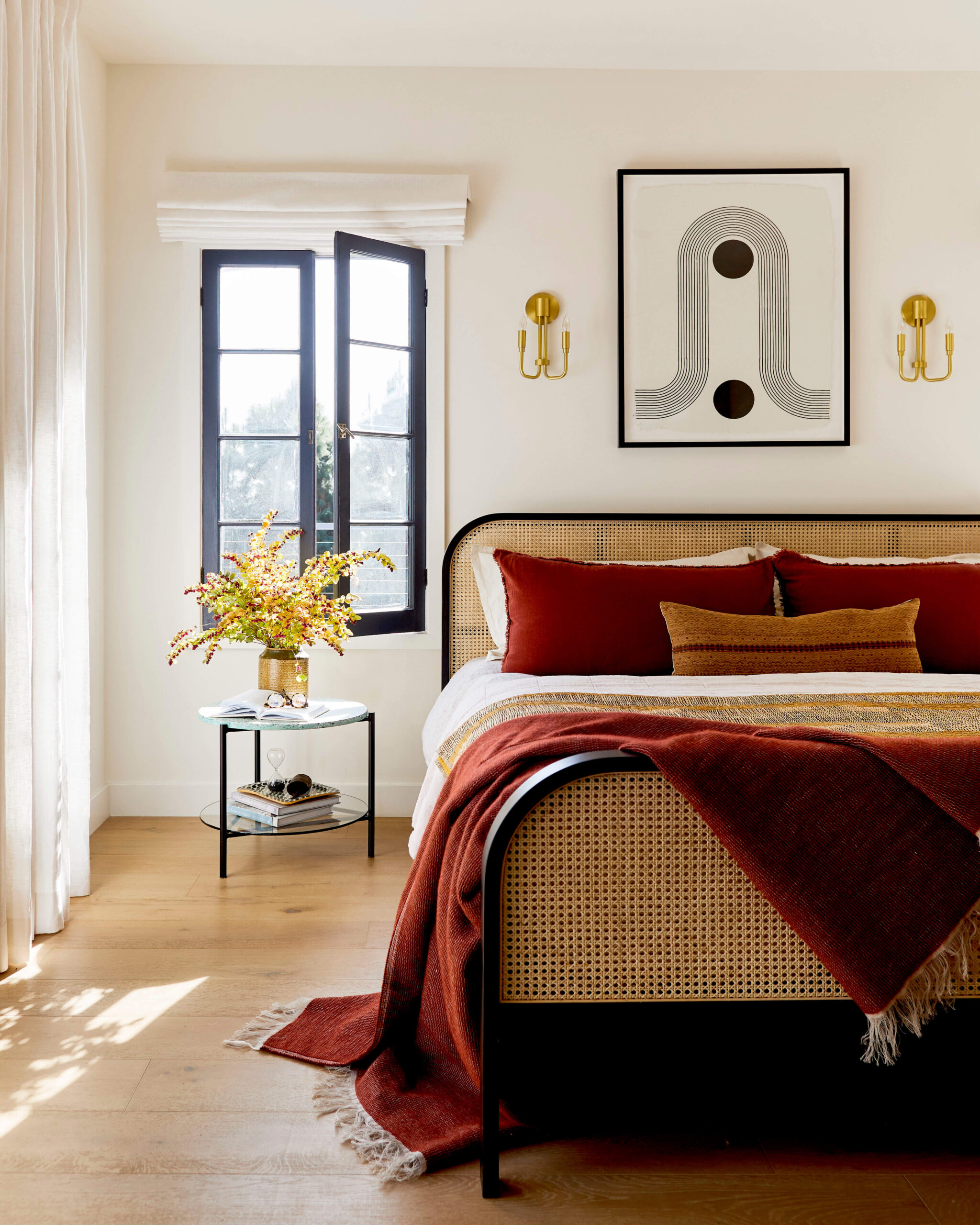 GINNY_MACDONALD_JACLYN_JOHNSON_BEDROOM_CANE_BED_RED_BLANKET